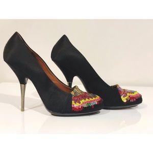Dries Van Noten Shoes - DRIES VAN NOTEN Black Silk and Sequined Pumps